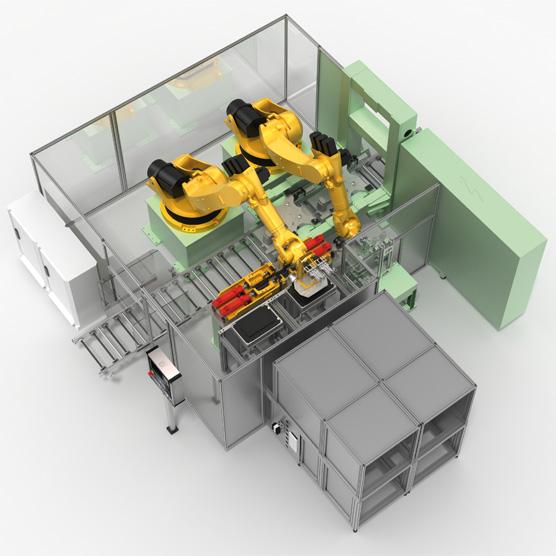 Roboterzelle einer Motormontagelinie